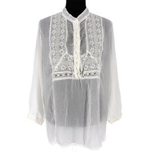Johnny Was White Long Sleeve Eyelet Rayon Blouse L